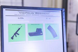 """Écran du système VIGIFELIN lors de la perception.Reportage au 3e RIMa (régiment d'infanterie de marine), à Vannes (56), le 9 avril 2019,  sur l'expérimentation par le régiment et la SIMMT (structure intégrée du maintien en condition opérationnelle des matériels terrestres) du nouveau système VIGIFELIN.Ce système numérise toute la gestion des matériels FELIN. De la préparation de la mission à la perception ce nouveau système permet le suivi strict des matérielsd et lors de la mise en réparation. Une véritable simplification pour les utilisateurs et le commandement, savoir ce que l'on à l'instant """"T"""" est aujourd'hui possible."""